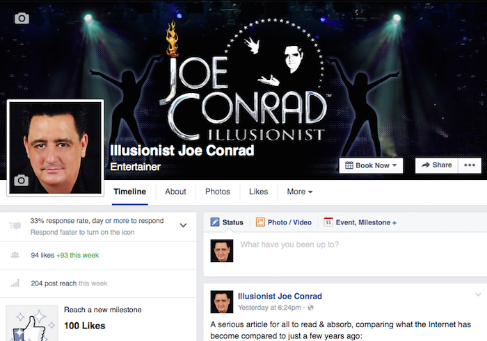 Illusionist Joe Conrad Official Facebook Page